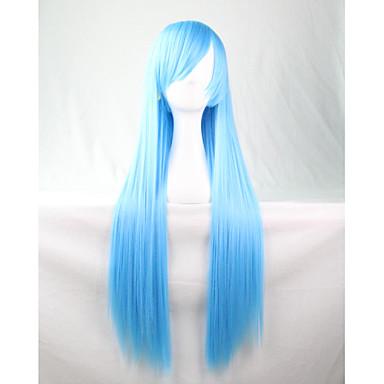 Cosplay Peruker Syntetiska peruker Rak Rak Med lugg Peruk Lång Blå Syntetiskt hår Dam Med Bangs Blå