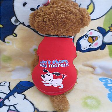 Hund T-shirt Hundkläder Mörkröd Kostym Spädbarn Liten hund Cotton S