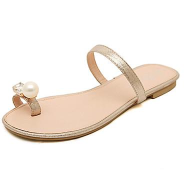 b582a6a378 Calçados Femininos - Sandálias   Chinelos - Rasteirinhas - Rasteiro -  Prateado   Dourado - Couro Sintético - Casual de 3710356 2019 por  17.99