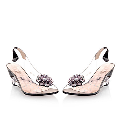 preiswerte Lucite Heels-Damen Sandalen mit Keilabsatz Keilabsatz Perle Kunstleder Lucite Ferse Frühling / Sommer Schwarz / Gelb / Rot / EU41