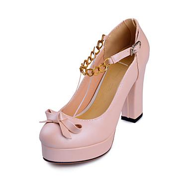 Mujer Zapatos Semicuero Primavera / Verano / Otoño Tacón Cuadrado Beige / Morado / Rojo Inwj9mu