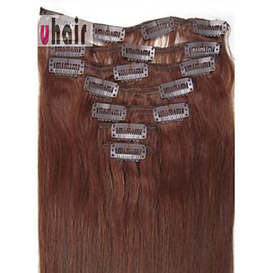 29 00 Clip In Human Hair Extensions Straight Human Hair Dark Auburn