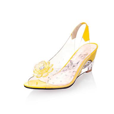 voordelige Damessandalen-Dames Sandalen Wedge Heels Sleehak Peep Toe Rubber Lichtzolen Lente / Zomer Geel / Rood / Blauw