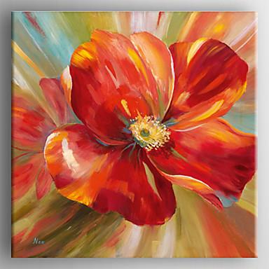 Dipinta a mano Floreale/Botanical Quadrato, Realismo Tela Hang ...