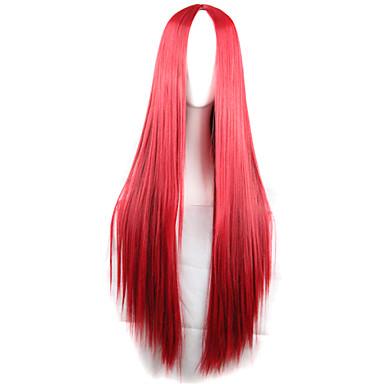 Syntetiska peruker Rak Rak Asymmetrisk frisyr Peruk Lång Röd Syntetiskt hår Dam Naturlig hårlinje Röd