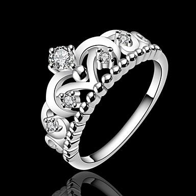 Dam Statement Ring Princess Crown Ring Silver Försilvrad damer Mode Bröllop Party Smycken / Bergkristall