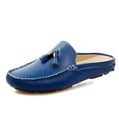 preiswerte Herrenschuhe-Herrn Komfort Schuhe Leder Frühling / Sommer Cloggs & Pantoletten Schwarz / Weiß / Blau / Quaste / Quaste