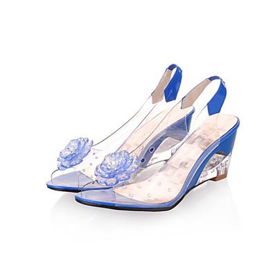 preiswerte Damenschuhe-Damen Sandalen mit Keilabsatz Keilabsatz Perle Kunstleder Lucite Ferse Frühling / Sommer Schwarz / Gelb / Rot / EU41
