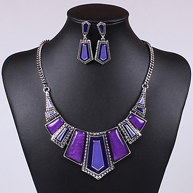 cheap Jewelry & Watches-Crystal Jewelry Set Statement Ladies Vintage Party Casual Cute Cubic Zirconia Earrings Jewelry Red / Green / Blue For Party / Necklace