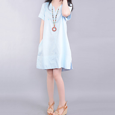 cb506f5c59 Women s Casual Cute Plus Sizes Embroidery Inelastic Short Sleeve Knee-length  Dress (Cotton Linen) 3633538 2019 –  45.44