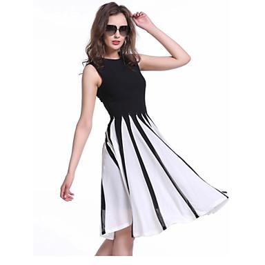 Women\'s Sleeveless Contrast Color Chiffon Nightclub Slim Fit Plus ...