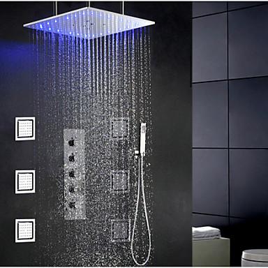 Contemporary Modern Shower System Rain Shower Widespread Handshower  Included LED Ceramic Valve Single Handle Four Holes Chrome, Shower 3729951  2018 U2013 ...