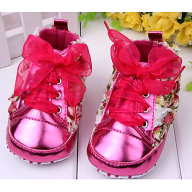 preiswerte Schuhe für Kinder-Mädchen Komfort / Lauflern Lackleder / PU Flache Schuhe Schleife / Blume Rot / Rosa / Lila Frühling Sommer