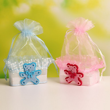 Baby Bear Decorative Basket Shaped Organza Wedding Candy Favor