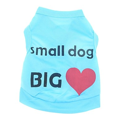 Katt Hund T-shirt Hundkläder Blå Rosa Kostym Terylen Hjärta Bokstav & Nummer Semester Ledigt / vardag XS S M L