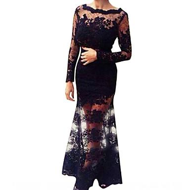 Γυναικεία Φόρεμα Δαντέλα Εξώπλατο Μακρύ Μακρυμάνικο Δαντέλα Λινό Πολυεστέρας Ακρυλικό  3779269 2019 –  19.94 0d6371859c7