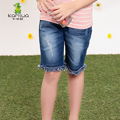 5cb7c79ce 2015 Girls Summer Knee-length Shorts Jeans 3-12Ys Teen Cowboy Pants Casual Trousers  Children's Clothing Kids Clothes 3566465 2019 – $24.93