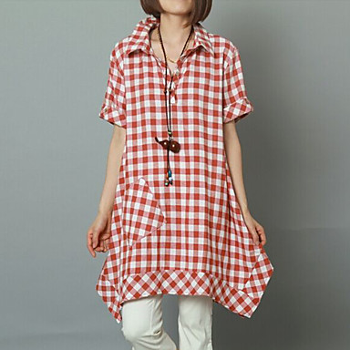12a81d0307 Women s Casual Cute Plus Sizes Check Short Sleeve Two Ways Wear Shirt and  Knee-length Dress (Cotton Linen) 3579597 2019 –  45.44