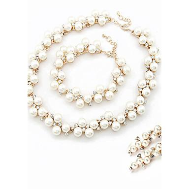 levne Dámské šperky-Bílá Sady šperků Sada kroužků Lahůdka dámy Delikátní Perly Umělé diamanty Náušnice Šperky Perlová Pro Svatební Párty Zásnuby Denní / Náhrdelníky