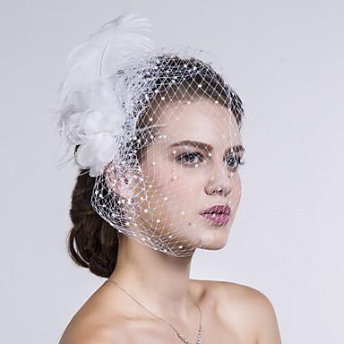 ieftine Accesorii Păr de Petrecerere-Pană / Material Textil / Net Veșminte de cap / Birdcage Veils cu Floral 1 buc Nuntă / Ocazie specială / Casual Diadema