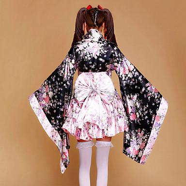 de4dec96e2 Sukienka Wa Lolita Tradycyjny Satyna Damskie Tradycyjne japońskie kimono  Cosplay Różowy Kwiaty Poeta Długi rękaw Krótka Kostiumy 4012161 2019 –   81.59