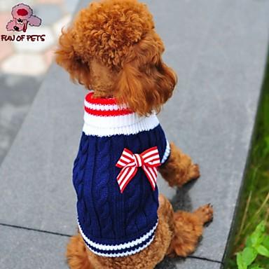 Katt Hund Tröjor Vinter Hundkläder Röd Blå Kostym Polär Ull Cotton Rosett Cosplay Bröllop XXS XS S M L