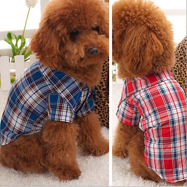 Hund Tröjor 셔츠 Hundkläder Pläd / Rutig Röd Blå Cotton Kostym Till Vår & Höst Cosplay Bröllop
