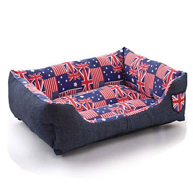 flaggmönster polyester söt lådform husdjur säng för hundar katter 58 * 45 * 14 cm / 23 * 18 * 6 tum