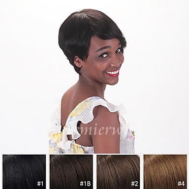 Mänskligt hår Peruk Rak Rak Maskingjord Svart 6 tum