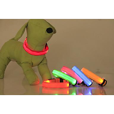 Katt Hund Halsband LED Lampor Justerbara / Infällbar Enfärgad Nylon Grön Blå Rosa