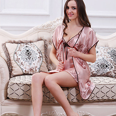 v tement de nuit femme robe de chambre satin soie ultra sexy polyester de 4021498 2018. Black Bedroom Furniture Sets. Home Design Ideas