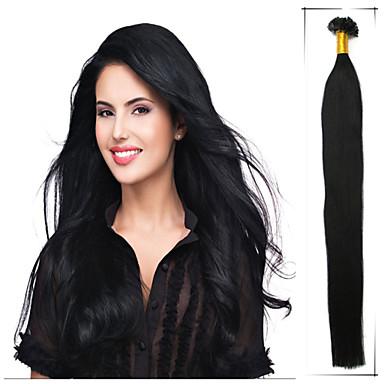 levne Příčesky z pravých vlasů-Fusion / U Tip Rozšíření lidský vlas Volný Přírodní vlasy Fuxia