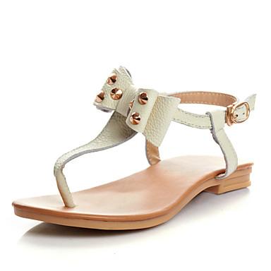 7c6d14c03f T-pántos - Lapos - Női cipő - Szandál - Alkalmi - Bőr - Barna / Fehér  4102140 2019 – $29.99