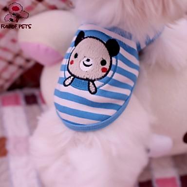 Katt Hund T-shirt Hundkläder Blå Kostym Cotton Rand Djur Cosplay Bröllop XS S M