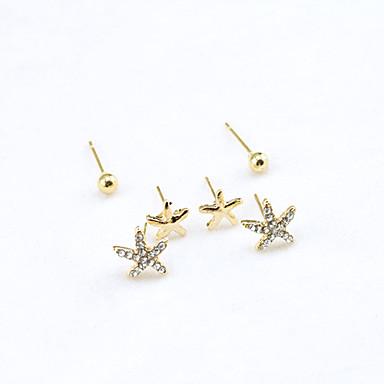 Dam Kristall Dubb Örhängen Sjöstjärna damer Europeisk Mode 18K Guldpläterad Bergkristall Guldpläterad örhängen Smycken Guld Till / Diamantimitation / Österrikisk kristall