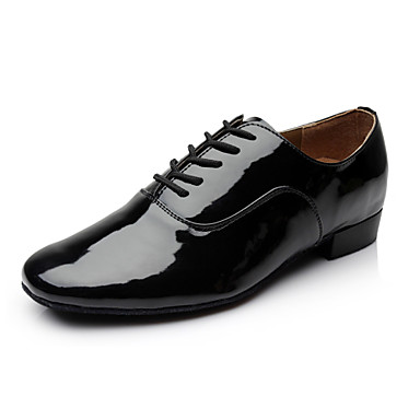 cheap Men's Dance Shoes-Men's Modern Shoes Heel Low Heel Microfiber Lace-up Black / White / EU43