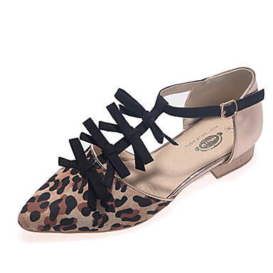 Shoes For Women Flat Heel T-Strap Flats Dress Black Animal Print