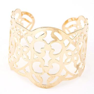 Dam Manschett Armband Bred Bangle Ihålig Legering Armband Smycken Silver / Brun Till Party Dagligen Casual