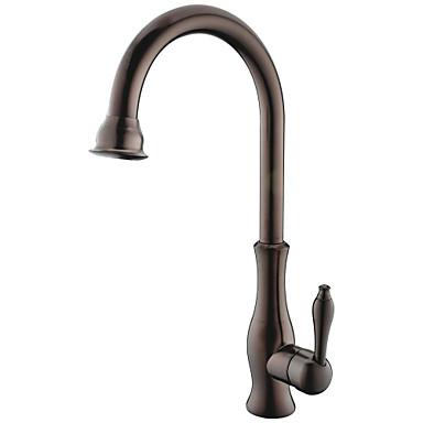 Kökskran - Ett hål Oljeaktig Brons Hög Arc Horisontell montering Antik Kitchen Taps / Mässing / Singel Handtag Ett hål