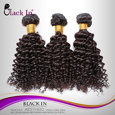 3 paket Brasilianskt hår Kinky Curly Äkta hår Human Hår vävar Hårförlängning av äkta hår Människohår förlängningar / 8A / Sexigt Lockigt
