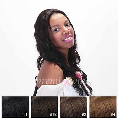 Äkta hår Hel-spets Peruk stil Naturligt vågigt Peruk 130% Hårtäthet Naturlig hårlinje Afro-amerikansk peruk 100 % handbundet Dam Korta Mellan Lång Äkta peruker med hätta Premierwigs