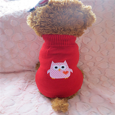 Hund Tröjor Vinter Hundkläder Röd / vit Kostym Blandat Material M L