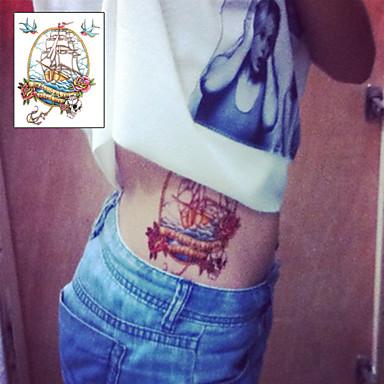 Pirate Boat Skull Head Sailor Tattoo Stickers Temporary Tattoos 1 Pc