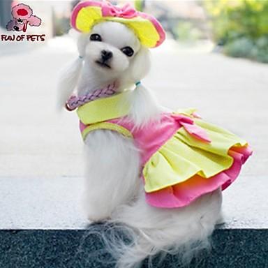 Katt Hund Klänningar Snusnäsdukar och mössor Hundkläder Gul Cotton Kostym Till Sommar Cosplay Bröllop