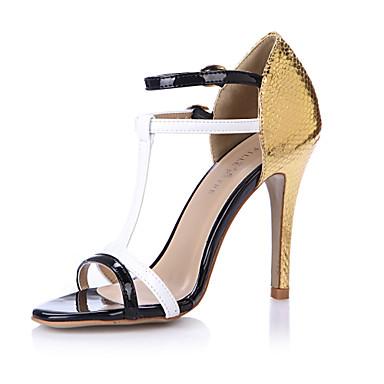 f83d3ff2b Women s PU(Polyurethane) Summer Comfort Sandals Stiletto Heel Open Toe  Black   Gold