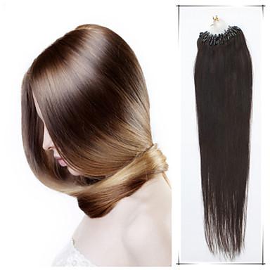 levne Příčesky z pravých vlasů-Micro ring příčesek Rozšíření lidský vlas Volný Přírodní vlasy Fuxia