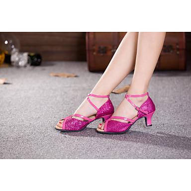 ราคาถูก รองเท้าเต้นราคาถูก-สำหรับผู้หญิง รองเท้าเต้นรำ เลื่อม ลาติน / บอลล์รูม เลื่อม / หินประกาย / หัวเข็มขัด ส้นสูง / รองเท้าแตะ ส้นCuban ไม่ตัดเฉพาะ เงิน / สีบานเย็น / ในที่ร่ม / ฝึก / มืออาชีพ / EU42