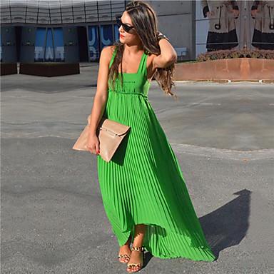 Γυναικεία Φόρεμα Πλισέ Λαιμόκοψη U Μακρύ Αμάνικο Σιφόν 4018079 2019 –  19.07 09355cf6510