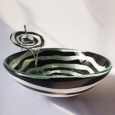 Badrums sink / Badrumskran / Badrums Monteringssing Nutida - Härdat Glas Rund Vessel Sink
