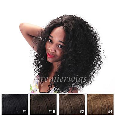 Äkta hår Spetsfront Peruk stil Lockigt Peruk 130% Hårtäthet Naturlig hårlinje Afro-amerikansk peruk 100 % handbundet Dam Mellan Lång Äkta peruker med hätta Premierwigs